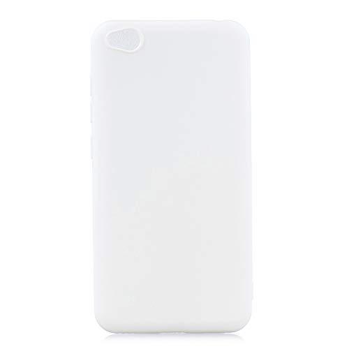 cuzz Funda para Xiaomi Redmi GO+{Protector de Pantalla de Vidrio Templado} Carcasa Silicona Suave Gel Rasguño y Resistente Teléfono Móvil Cover-Blanco