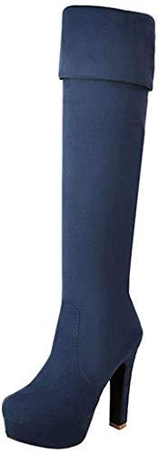 MISSUIT Damen Overknee Stiefel High Heels Sretch Boots mit Blockabsatz und 12cm Absatz Winter Schuhe(Blau,39)