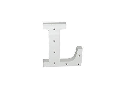 Letra blanca decorativa con luz LED blanca (madera) (L)