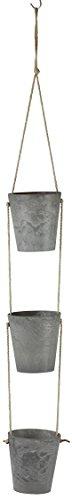 Artstone Blumenampel 3x Pflanzgefäß Claire, frostbeständig und leichtgewichtig, 8 x 9 cm, grau