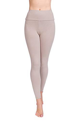 Soft Sail Damen Leggings, hohe Taille, Bauchkontrolle, weiche Baumwolle Gr. 36 EU/S, beige