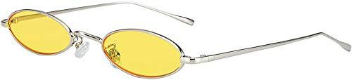GMYQ Gafas de sol ovaladas vintage para mujer, marco de metal, colores caramelos, diseño de moda, retro, forma de pétalos pequeños, color amarillo
