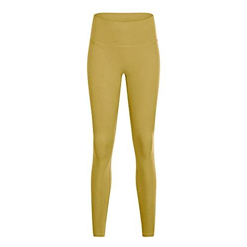 MQQM Deporte opacos Pantalones,Sin línea, Pantalones de Yoga Desnuda, Pantalones de Cintura Alta de Cintura.-Amarillo 2_SG,Elásticos Leggings Push Pantalones