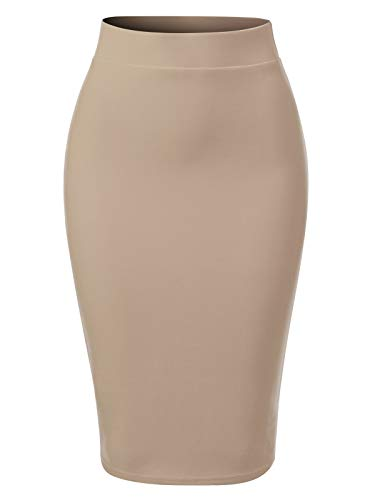 MixMatchy Women's Casual Classic Bodycon Pencil Skirt Khaki 3XL