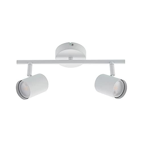 ELC LED Deckenlampe weiss, schwenkbar & drehbar, 2 flammig, inkl. 2 x 5W GU10 LED Leuchtmittel, LED Deckenleuchte, Deckenstrahler warmweiss, Metall, Deckenspot, Spot, Strahler