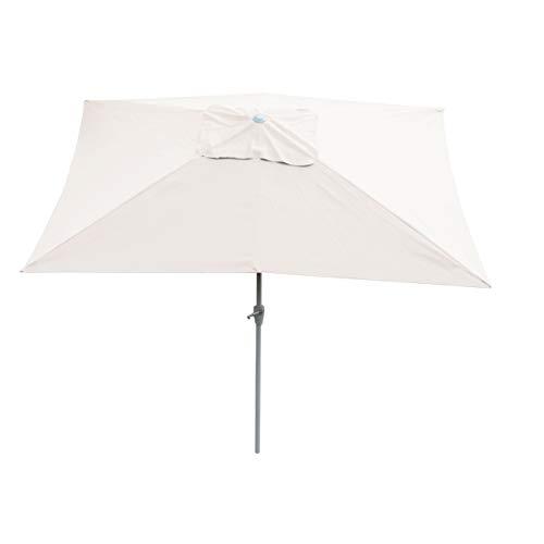 Mendler Sonnenschirm N23, Gartenschirm, 2x3m rechteckig neigbar, Polyester/Alu 4,5kg ~ Creme