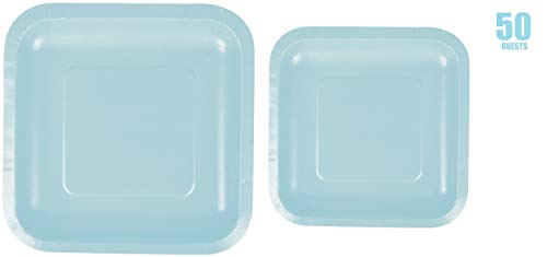 100 Count Square Light Blue Paper Plates | 50~9' Dinner Paper Plates | 50~7' Dessert Paper Plates | Light Blue Party Theme