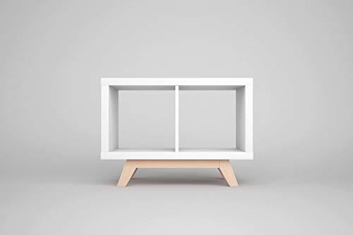 New Swedish Design IKEA Kallax Regal Untergestell, Holzgestell aus echter massiver Buche, für Kallax-Breite: 2 Regalfächer, schräge Möbelfüße, Füsse f. Sideboard Lowboard skandinavisch