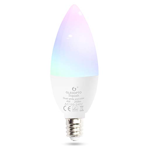 Smart Candle Light Bulb E14 Dimmable 4W RGB CCT Colour LED Bulbs Compatible with Amazon Echo Plus Echo Show Alexa SmartThings Lightify etc (Zigbee Hub Required, No WiFi Bulb)