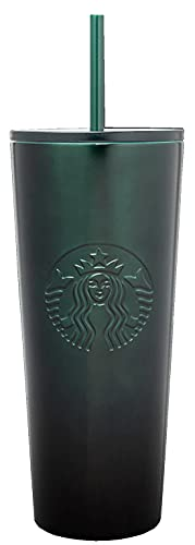 Starbucks Stainless Steel 24-Ounce Double Walled Cold Cup Tumbler Plastic Lid 2020 Black Green