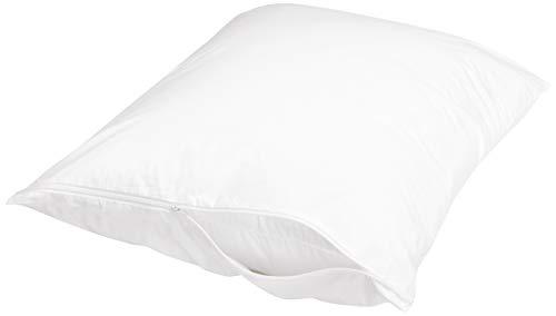 Amazon Basics 100% Cotton Hypoallergenic Pillow Protector Case - Standard, White