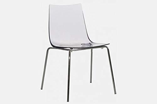 Kit de 4 sillas Slim by Sintesi, asiento de policarbonato transparente, estructura cromada, fabricado en Italia (4)
