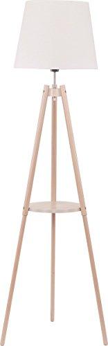Stehlampe Holz Weiß Stoff Schirm Eckig Dreibein Skandinavisches Design H 148cm E27 Innenlampe Couch Stehleuchte Standleuchte
