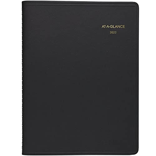 """2022 Weekly Appointment Book & Planner by AT-A-GLANCE, 8-1/4"""" x 11"""", Large, Black (7095005)"""