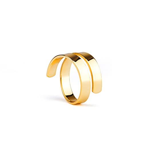 Anillo en espiral ajustable de plata chapada en oro de 18 quilates, chapado en oro de 18 quilates, plata de ley 925, anillo ajustable para mujer