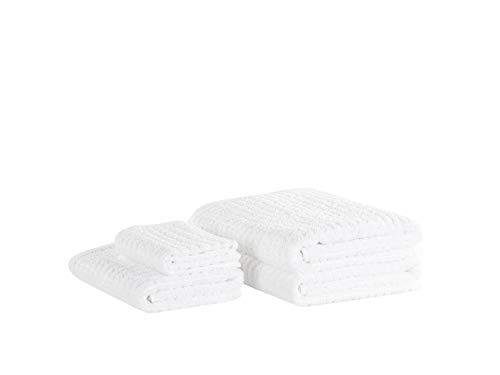 Beliani Conjunto de 4 Toallas de algodón Blancas AREORA