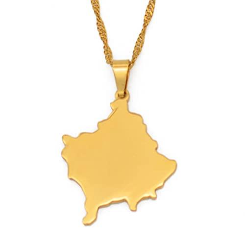 Serbio Kosovo Mujer Niña Collar Dorado Colgante Collar # 097821