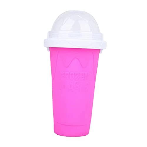 MagiDeal Taza de batidos de congelación rápida taza de enfriamiento Pinch Cup 300ml, con pajita y cuchara 2 en 1 - Rojo rosa