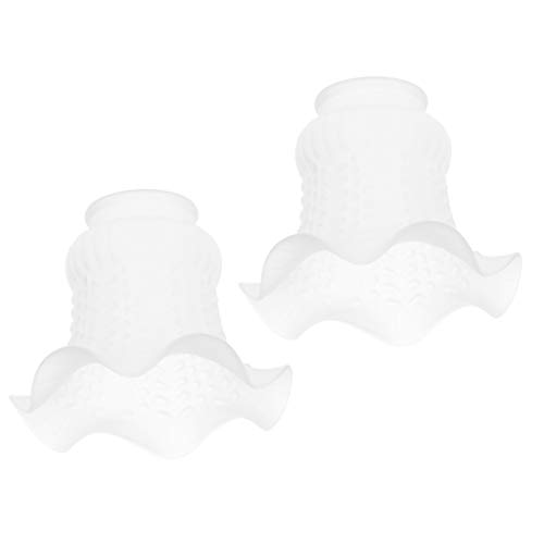 joyMerit 2pc Tulip Bell Shape Vintage Frosted u0026 Clear Glass Lamp Shade Replacement