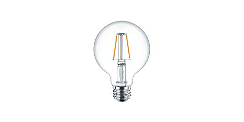Philips LED Indoor/Outdoor G25 Clear Glass Dimmable Filament Light Bulb with Warm Glow Effect: 350-Lumen, 2700-2200 Kelvin, 5-Watt (40-Watt Equivalent), E26 Medium Base, Soft White , 8-Pack