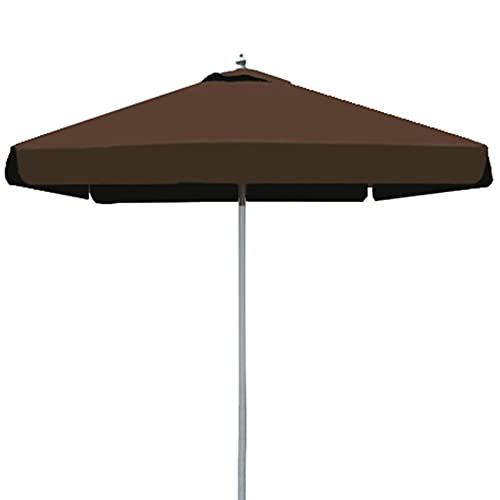 Pack Sombrilla de Playa Antiviento Aluminio y Fibra Vidrio, UPF 50+ Parasol de Playa con Soporte de Tornillo Sombrilla Terraza, Utilizada en Jardines, Terrazas, Sombrilla Redonda,Marrón,2.5x2.5m