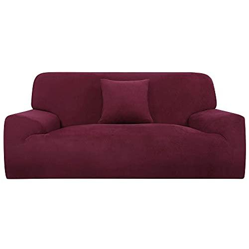 Funda de sofá elástica en forma de L funda de silla para sofá de 1 2 3 plazas + funda de cojín rojo XL