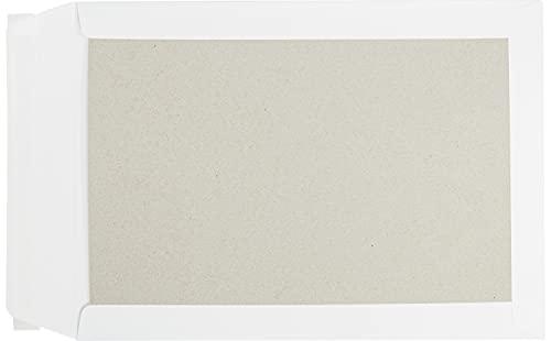 Papprückwandtaschen, Versandtaschen, C4, 229 x 324 mm, weiß, 100 Stück, ohne Fenster, Haftklebung mit Abziehstreifen, Gerade Klappe, 120 g/qm Offset, Blanke Briefhüllen
