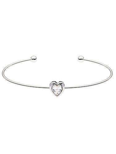 Ted Baker Hasina Crystal Heart Ultra Fine Cuff Silver Tone