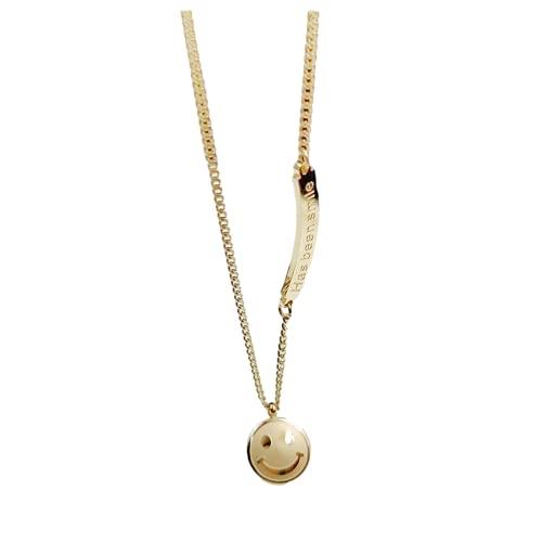 Collar personalizado, collar minimalista, acero inoxidable, colgante redondo de sonrisa, es el mejor regalo para el día de la madre, día de San Valentín