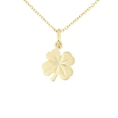Lucchetta – Cadena con colgante de trébol de la suerte de oro amarillo de 9 quilates – 45 cm – Collar de oro para mujer – Fabricado en Italia – XD1532-FZ25