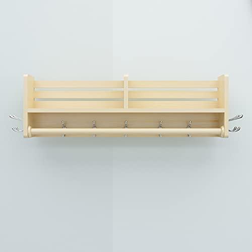 Perchero de pie Hoja trasera de la puerta del material de madera de pino, orificio de perforación para instalar suspensión de pared, perchero resistente al calor e impermeable, colgando de la pared de