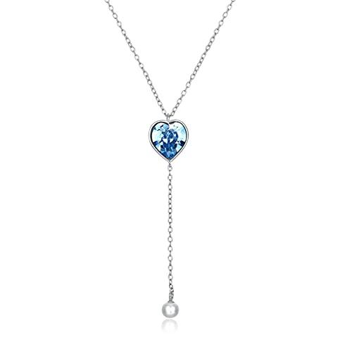 BENHAI Azul Corazón Forma Diseño Cristales Colgante Collar, Mujer/Niñas 925 Plateado Swarovski Element Colgante Joyería Regalo para el día de la Madre para Mujer De Amor Regalos para Mamá 45cm