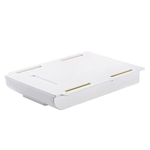 Bandeja autoadhesiva para lápices, debajo del escritorio, cajón, organizador, mesa, caja de almacenamiento, soporte, adhesivo, pasta oculta, plástico, cocina, papelería, cepillo-L, blanco