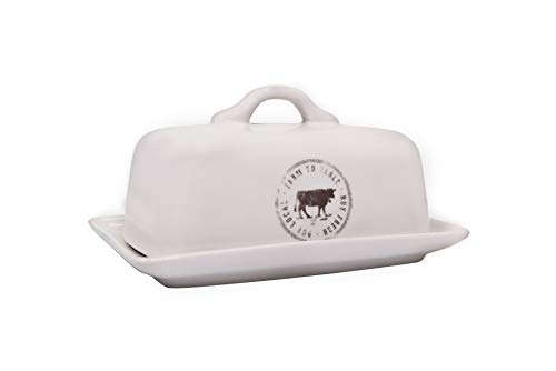 Creative Co-op Stoneware Butter Dish with Cow Decal, 6.75' L, White