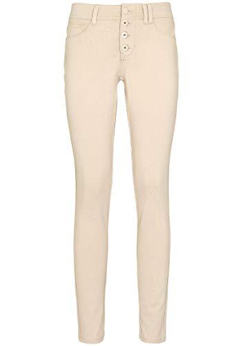 Sublevel Bequeme Damen Skinny Stoff-Hose mit Push-up Effekt Light-beige M
