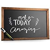 Wood Framed Magnetic Chalkboard Sign: 11x17 Inch Rustic Wall Hanging Blackboard Signs - Decorative Bulletin Board Chalkboards Perfect for a Kitchen Menu or Wedding Includes Chalk Marker and 2 Magnets