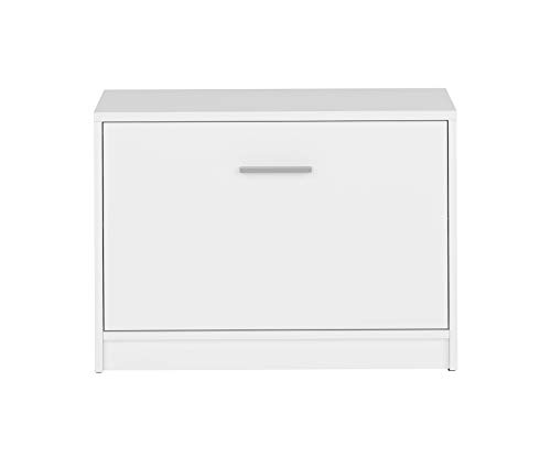BOARDD - Zapatero para pasillo y zapatero con puerta abatible, color blanco mate, 70 x 50,5 x 34 cm