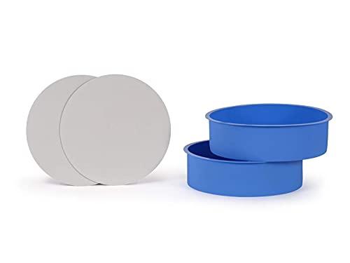 HXYA Juego de 3 moldes redondos de silicona de 7 ¼ pulgadas, incluye 5 círculos laminados de cartón a prueba de grasa (18,4 x 3,8 cm, naranja)