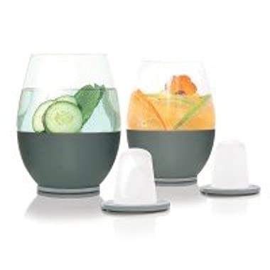 Dimple Self-chilling Stemless Wine Glasses | Magnetic Freezer Insert Makes Drinks Colder Longer | Silicone Insulated Hand-grip, Hand-blown Glass & Stainless Steel | Modern Design | Great Wine Gift