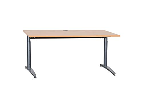 Palmberg Schreibtisch Bürotisch Büromöbel Büroeinrichtung Mit Norm-Höhenverstellung In Birnbaum, Geprüft Und Gebraucht, 68-82x160x80cm (Zertifiziert und Generalüberholt)
