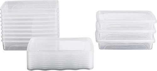 Kigima Frischhaltedosen Gefrierdosen 0,5l (400ml) flach 12er Set mit Deckel transparent
