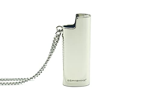 E6PHOMME® EP-13 UNISEX Stainless Steel Halskette Edelstahl Kette BIC mini J25 Feuerzeug Anhänger kompatibel Lighter Chain Necklace (Silber)