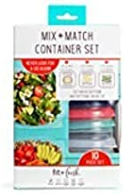 Mix & Match 10 Piece Container Set by Fit & Fresh, Space-Saving Containers with Interchangeable Tops and Bottoms, Multicolored