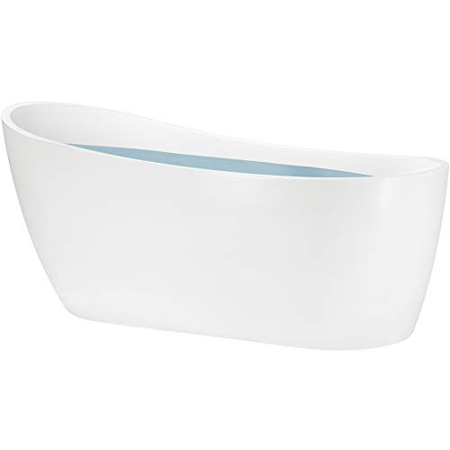 Freestanding Bathtub – 60 Inch Glossy White Acrylic Bathtub – Modern Flat Bottom Stand Alone Tub – Luxurious Tub