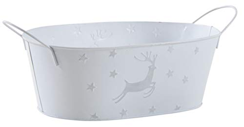 AUBRY GASPARD Corbeille Ovale en métal laqué Blanc avec cerf