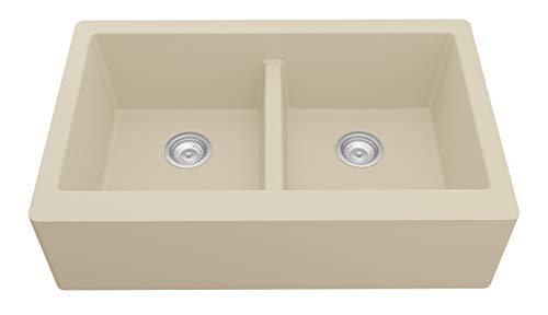 Karran Farmhouse Apron Front Quartz Composite 34 in. Double Bowl Kitchen Sink in Bisque