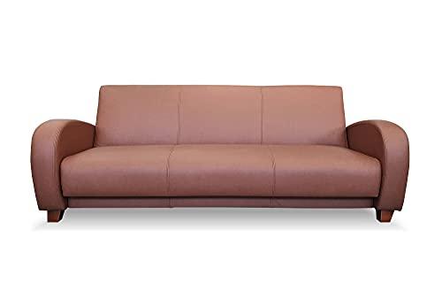 Sofá de 3 plazas Mediolan de piel auténtica, plegable, ancho de 222 cm, con función de dormir y cajón de cama, color marrón