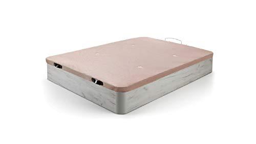HOGAR24 ES Canapé Abatible de Madera de Gran Capacidad Tapa 3D Transpirable, Color Blanco Vint, 150x190cm