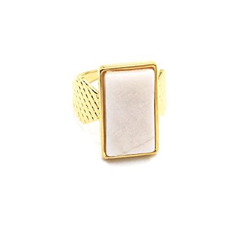 Oh My Shop BG1470 - Anillo ancho acolchado de acero dorado con piedra rectangular crudo