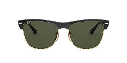 Ray-Ban Unisex Clubmaster Oversized Sonnenbrille, Schwarz (Gestell: schwarz, Gläserfarbe: grün klassisch, Umrandung der Gläser: Gold 877), Large (Herstellergröße: 57)
